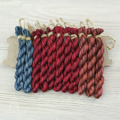 """Hand-Dyed Threads for """"Northern Sampler"""""""