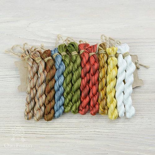 """Hand-Dyed Threads for """"Tea Sampler"""""""