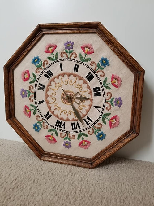 Floral Embroidery Clock