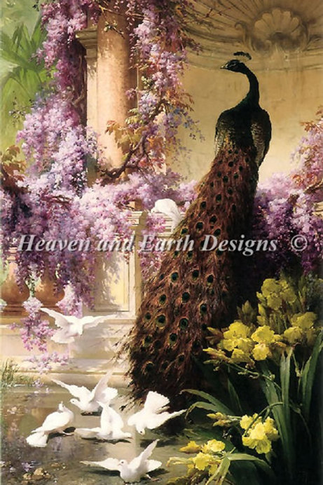 A Peacock and Doves In A Garden - Heaven and Earth Designs