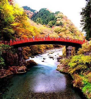 A Shinkyo Bridge during autumn in Nikko,