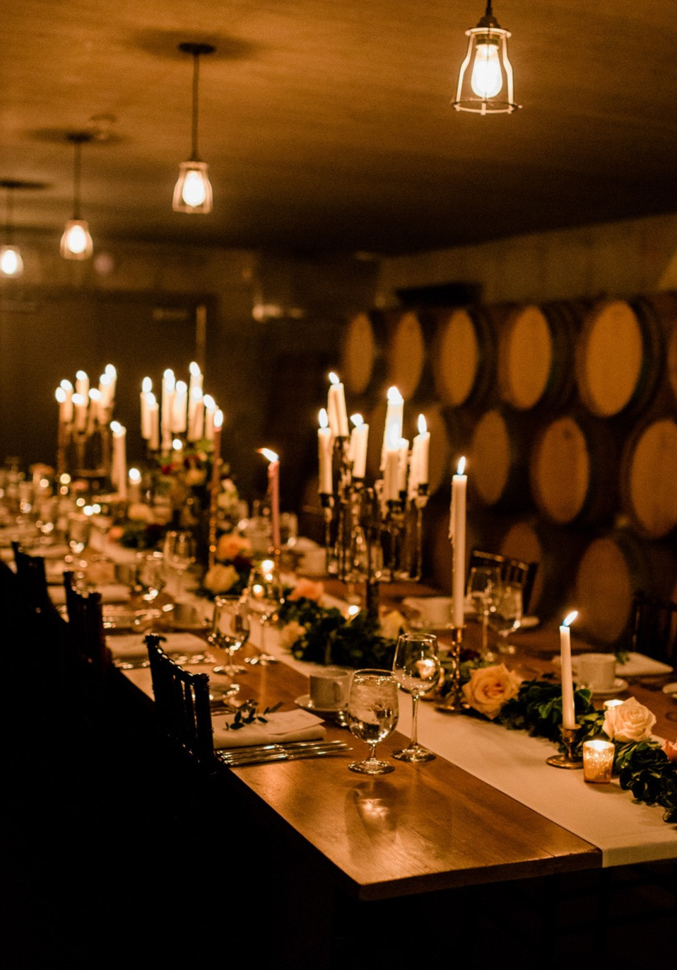 Ravine Vineyard indoor wedding reception candlelit