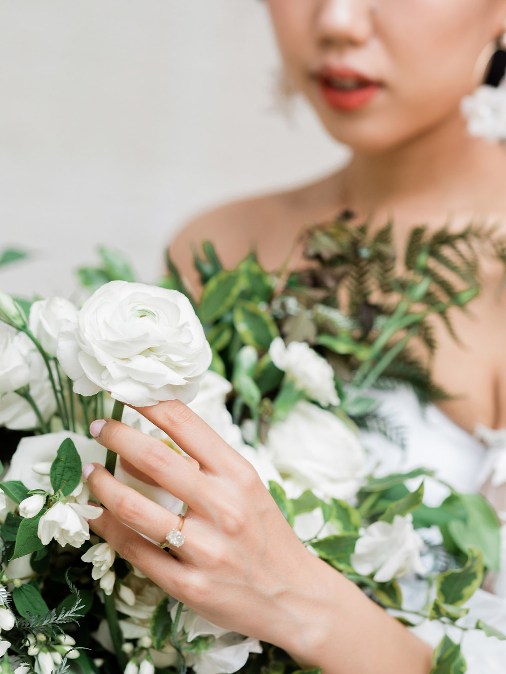 bridal engagement ring bouquet