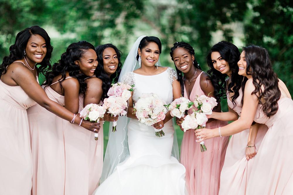 vue wedding bridesmaids pink dresses