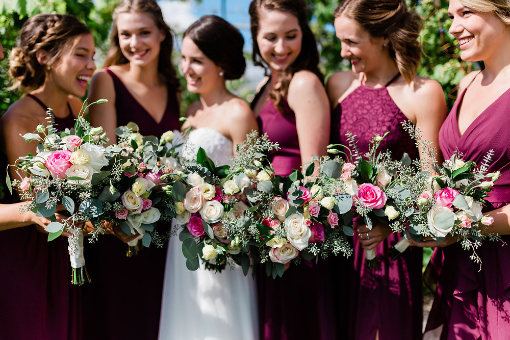 vineyard bridesmaids wedding photography burgundy dresses huff estates winery