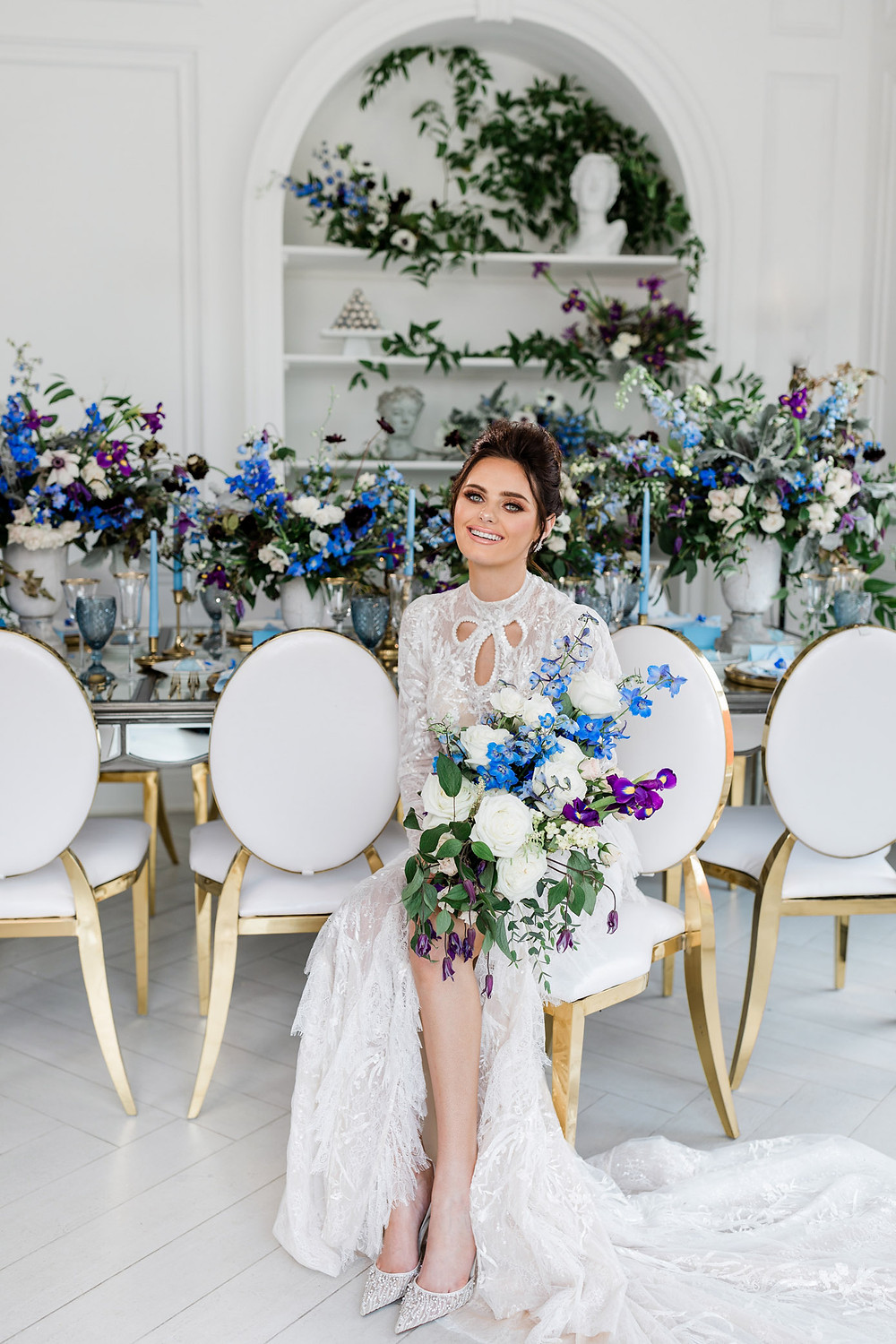 luxury toronto wedding inspiration blue flower reception decor bridal portrait