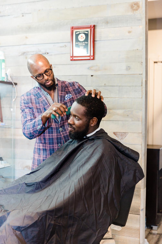 groom haircut wedding day