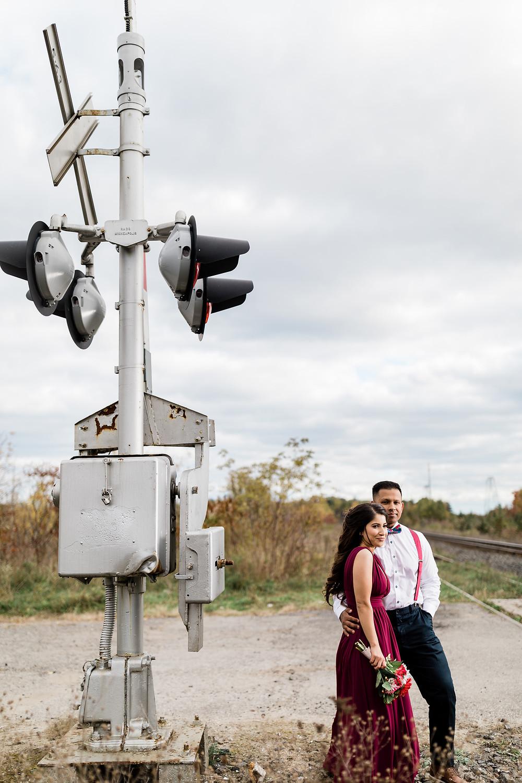 Toronto engagement photos rouge park rail tracks