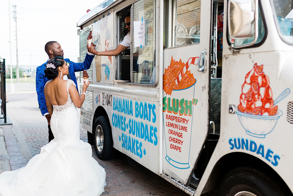 vue and clubhouse wedding bride and groom ice cream truck