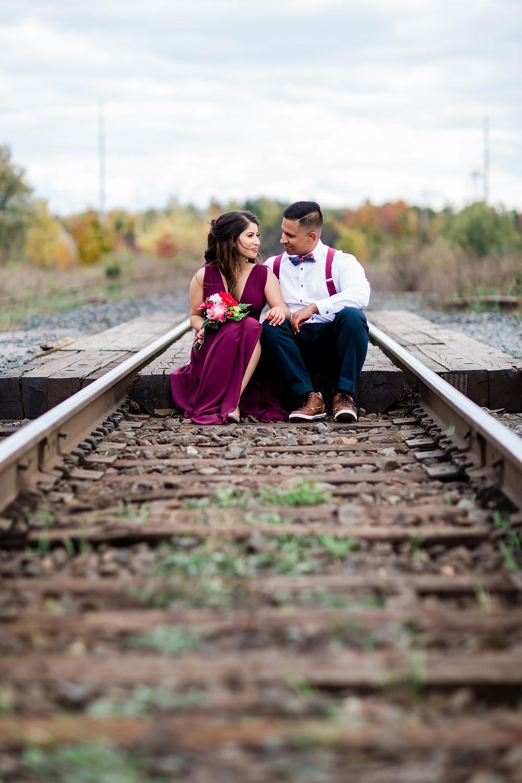 Toronto engagement shoot rouge park railway station