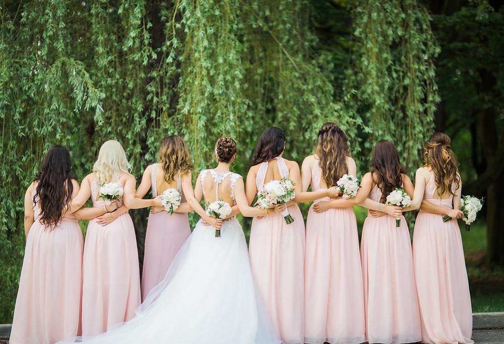 Bridesmaids blush pink wedding toronto