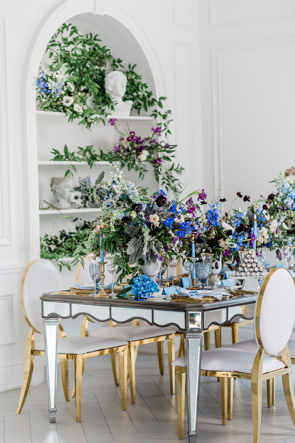 luxury toronto wedding inspiration blue flower reception decor tabletop