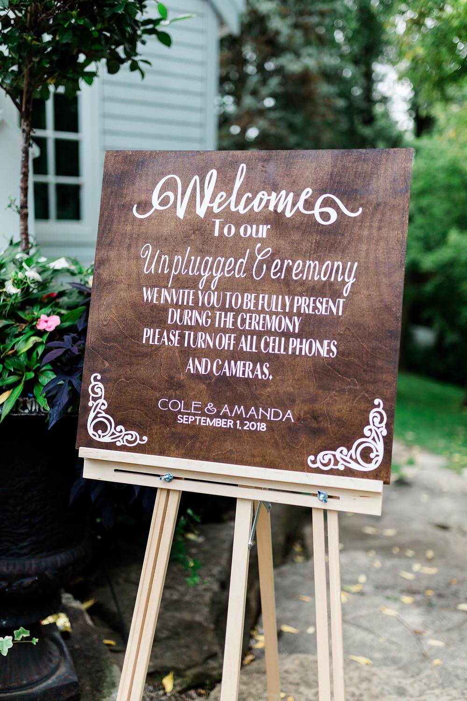 unplugged wedding ceremony signs