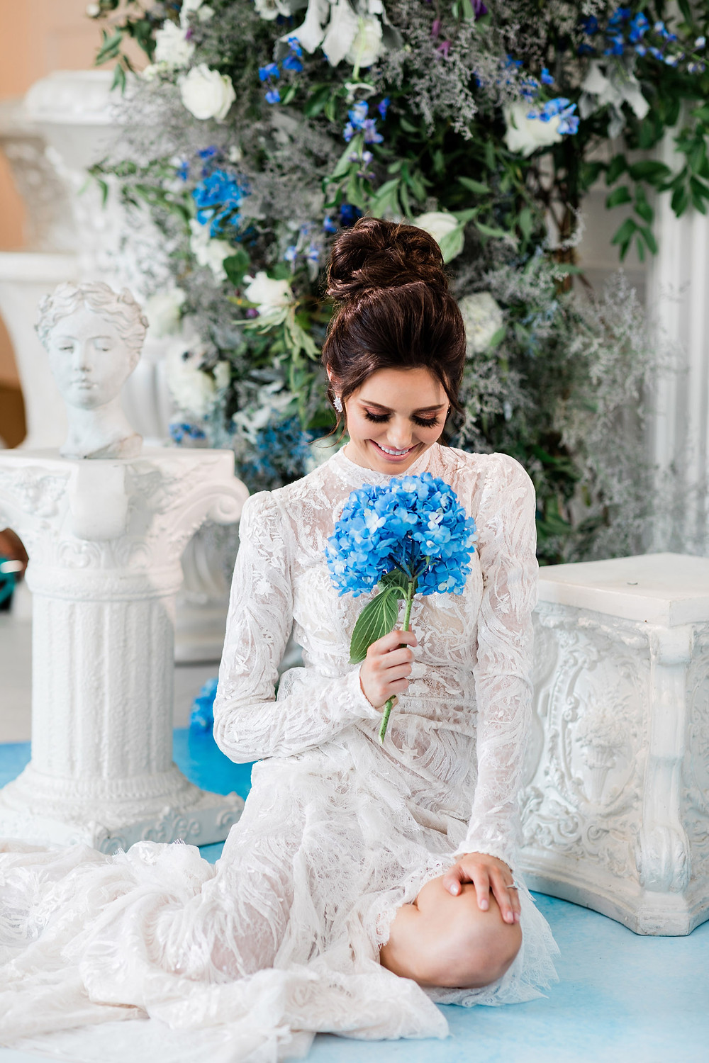luxury toronto wedding inspiration blue flower sexy wedding gown