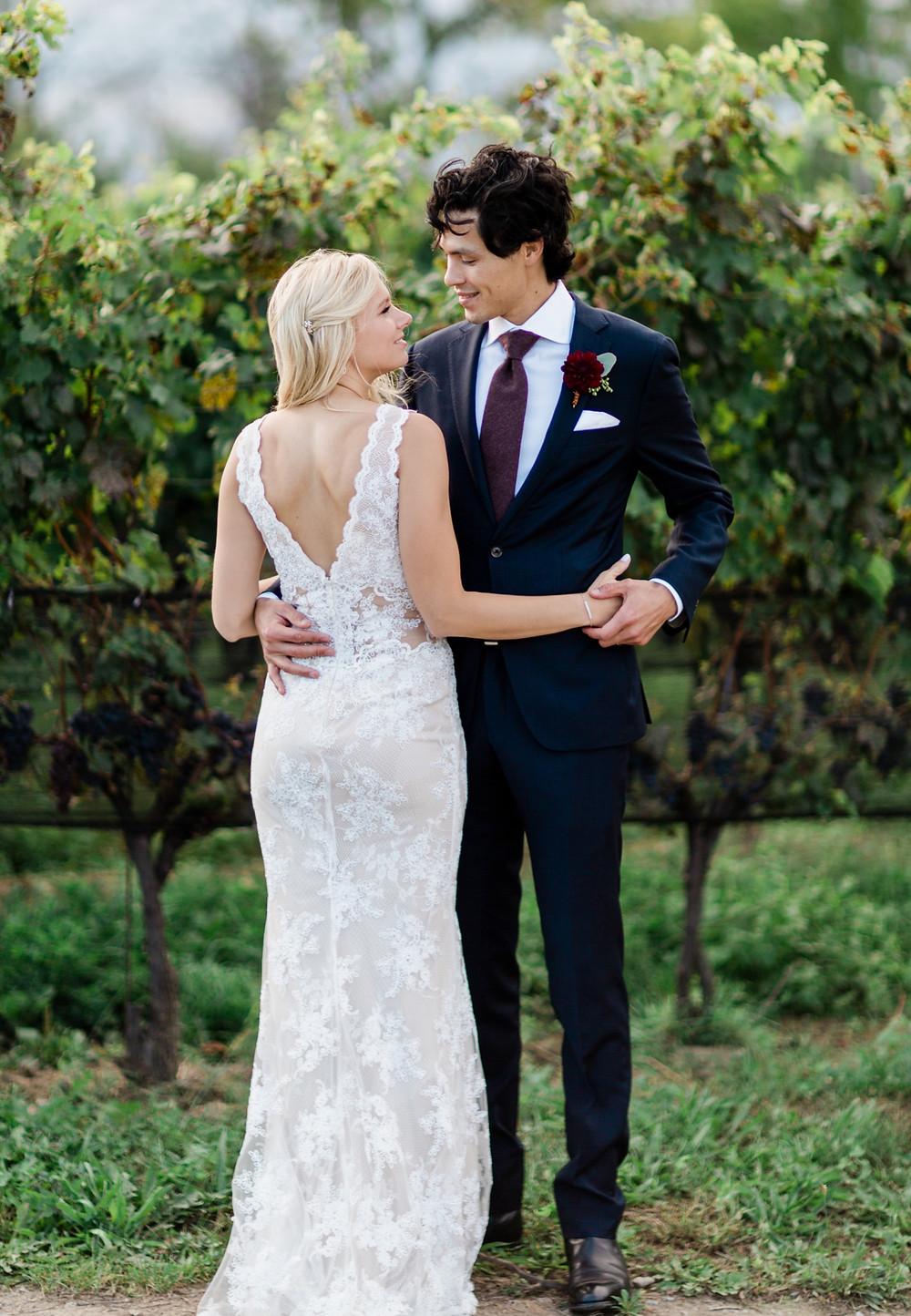 Ravine Vineyard Wedding  Bride and Groom
