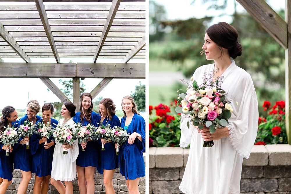 bride getting ready vineyard wedding huff estates