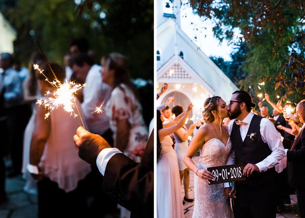 doctors house wedding sparkler exit romantic