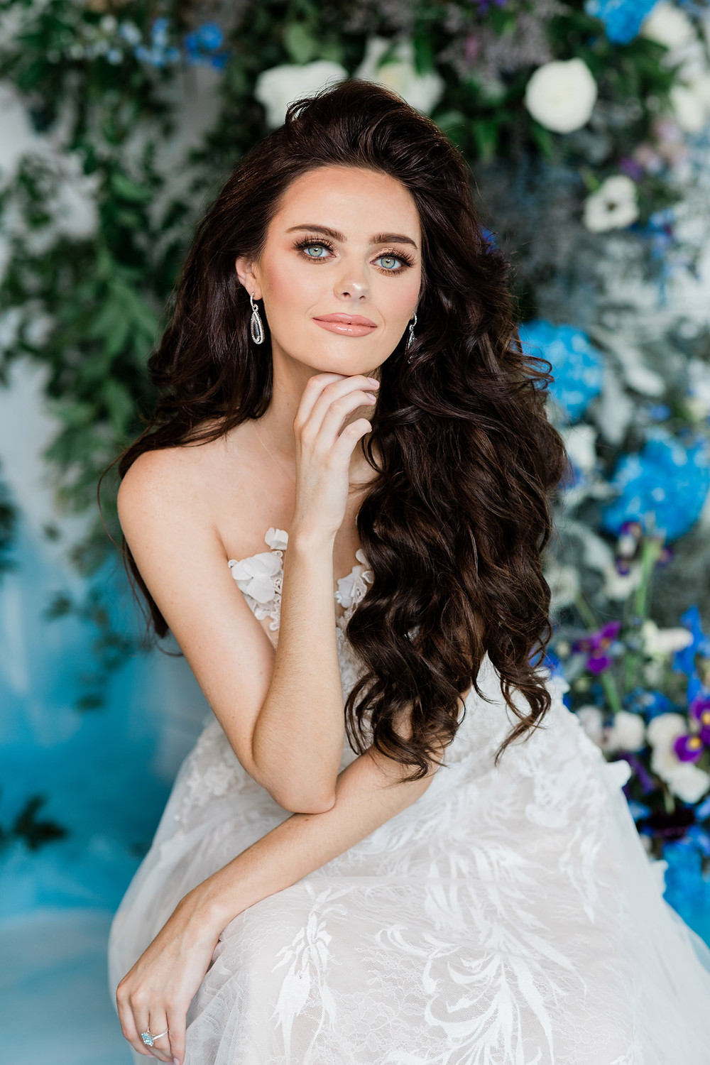 luxury glam bridal hair and makeup wedding photography portrait