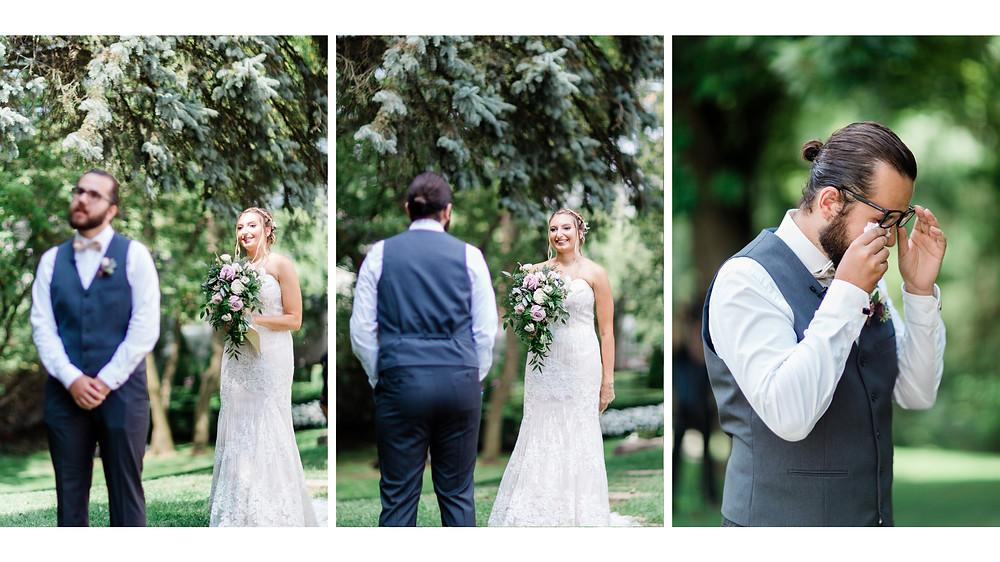 wedding first look groom crying