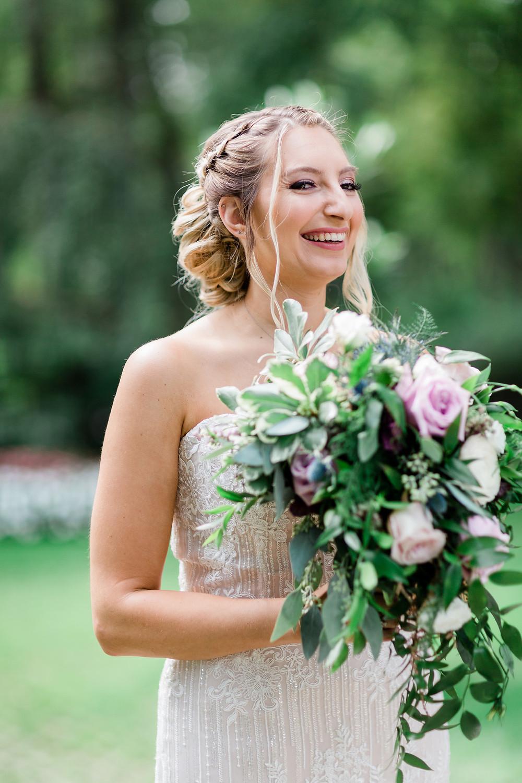 bridal portrait boho updo fountain bouquet