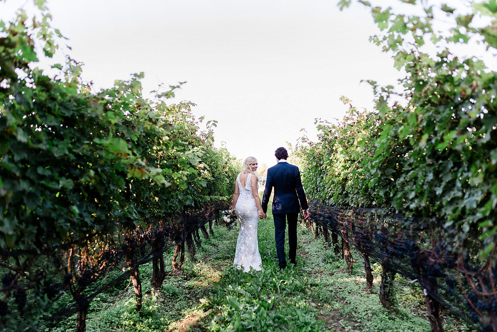 Ravine Vineyard Wedding  Bride and Groom niagara of the lake