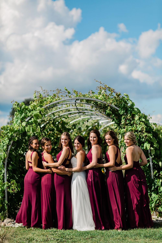 vineyard bridesmaids wedding photography huff estates winery