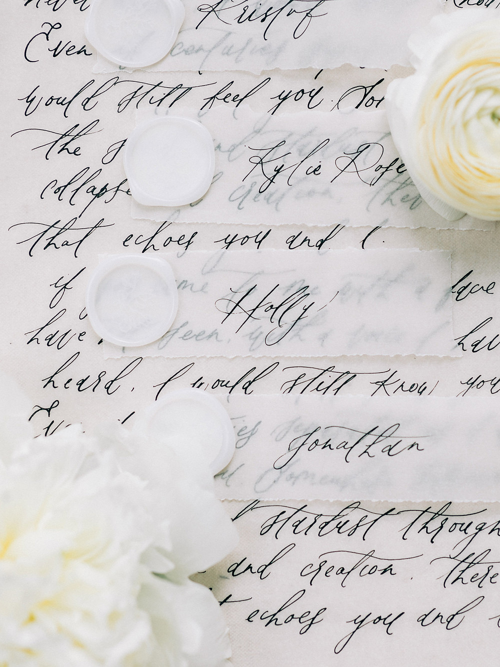vellum place cards calligraphy