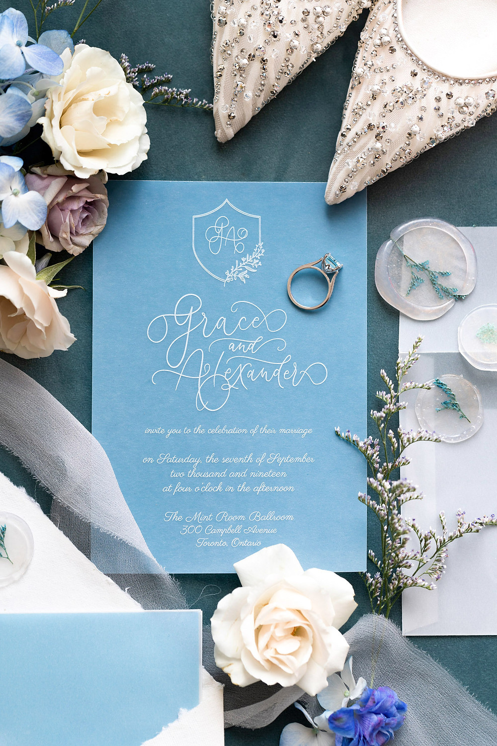 wedding invitations fine art layflat styling