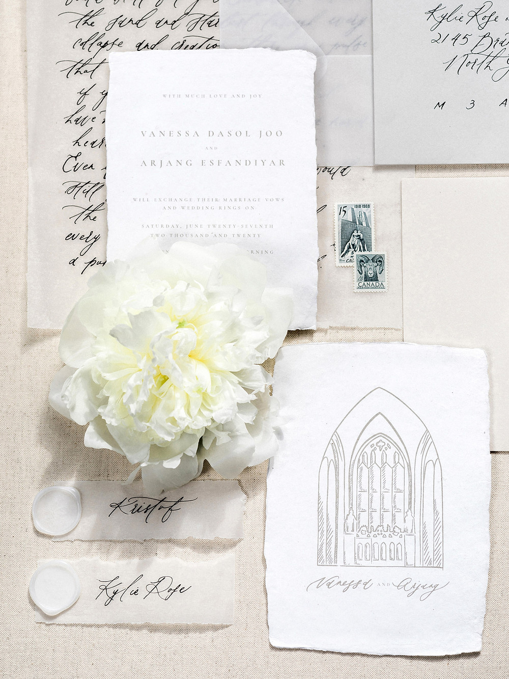 wedding invitation suite flatlay