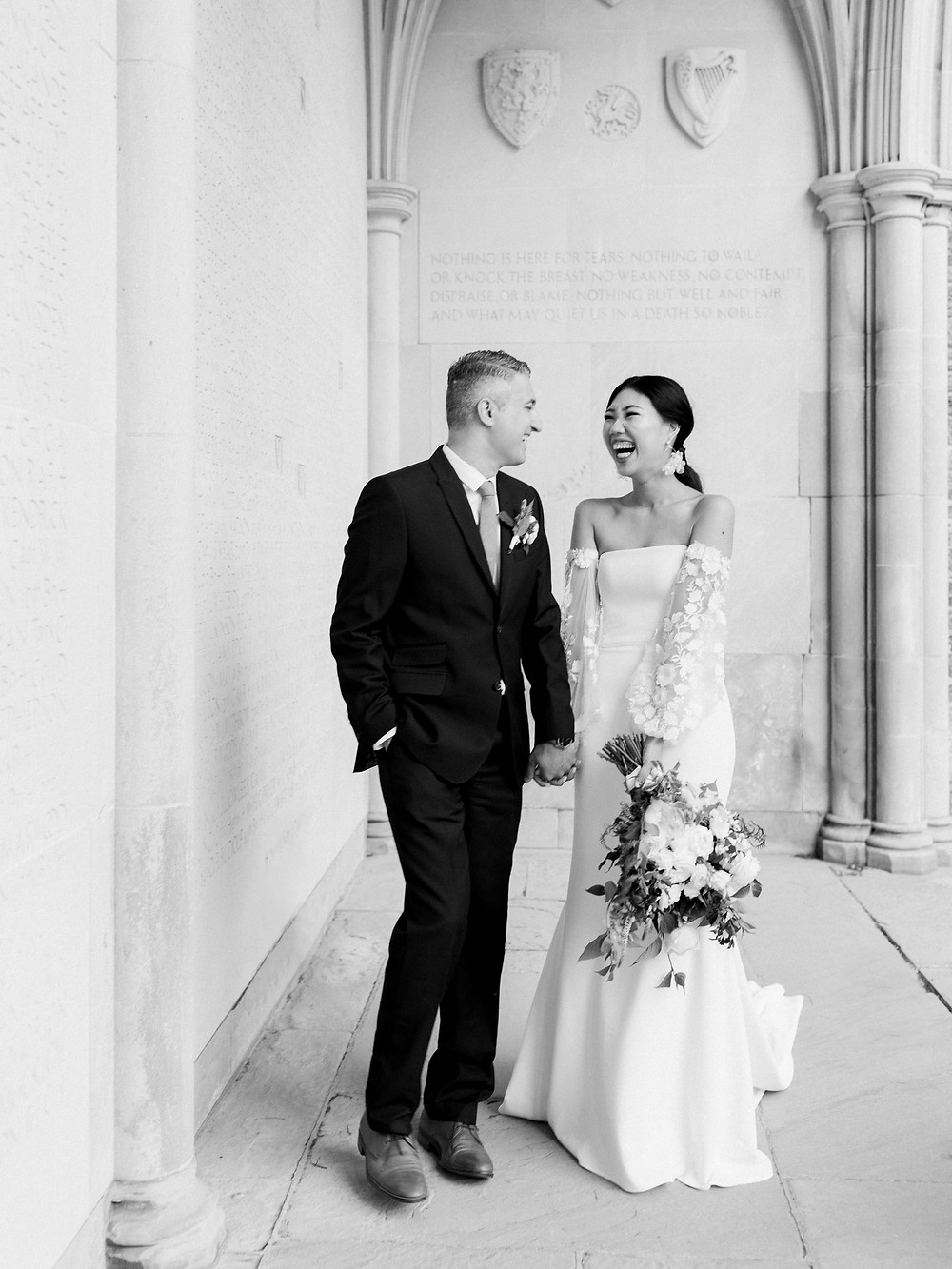 wedding shoot in hart house bride groom black and white