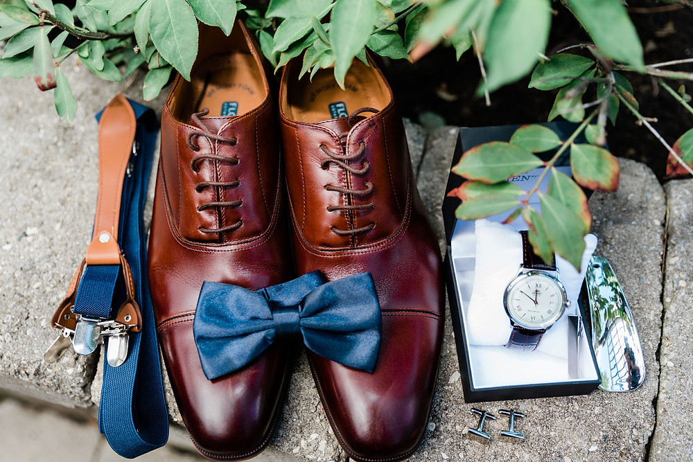 groom details wedding shoes watch bow tie