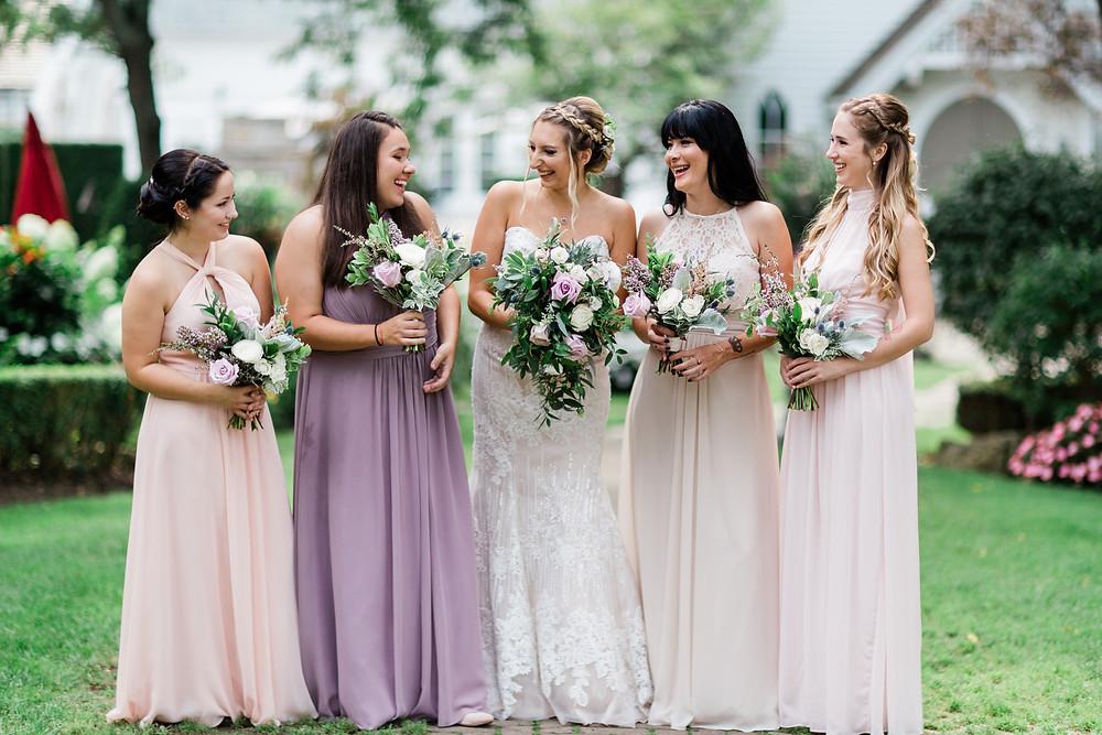 doctors house bridesmaids blush pink dresses