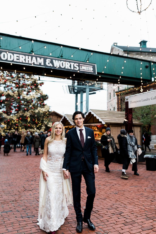 Distillery District wedding bride and groom christmas market toronto