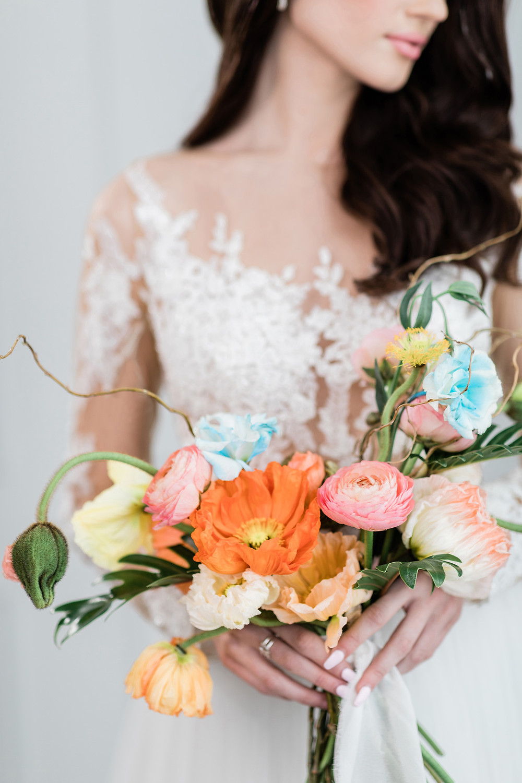 wedding flowers bouquet mint room studios pronovias gown