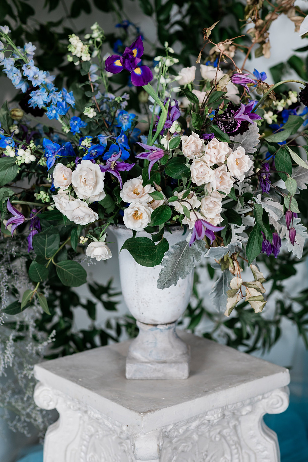lush blue flower centerpiece toronto wedding