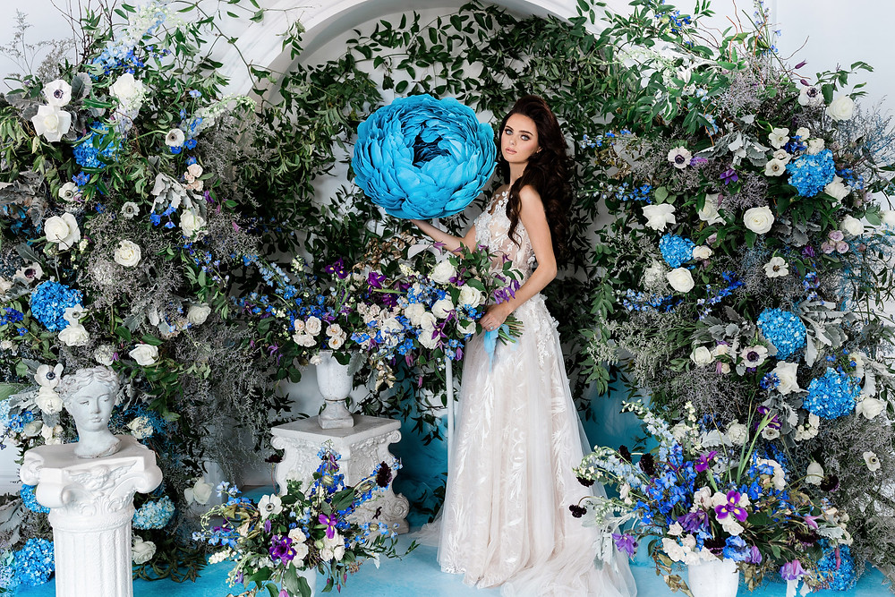 luxury secret garden wedding ceremony decor blue flowers