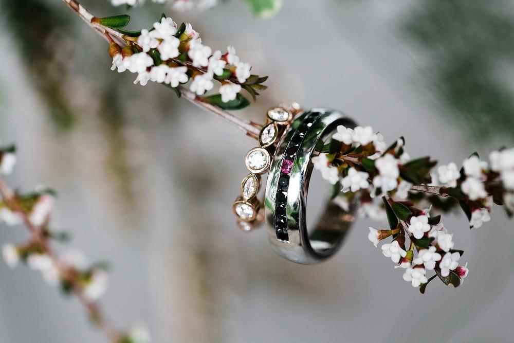 Wedding bands rings black diamond macro photography