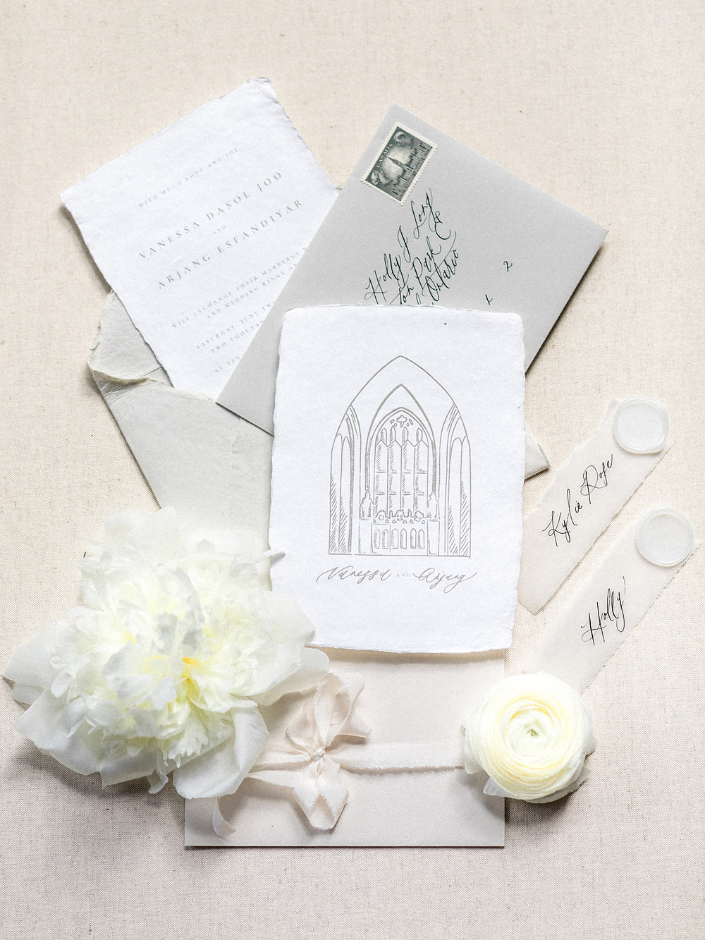 fine art wedding invitation suite calligraphy