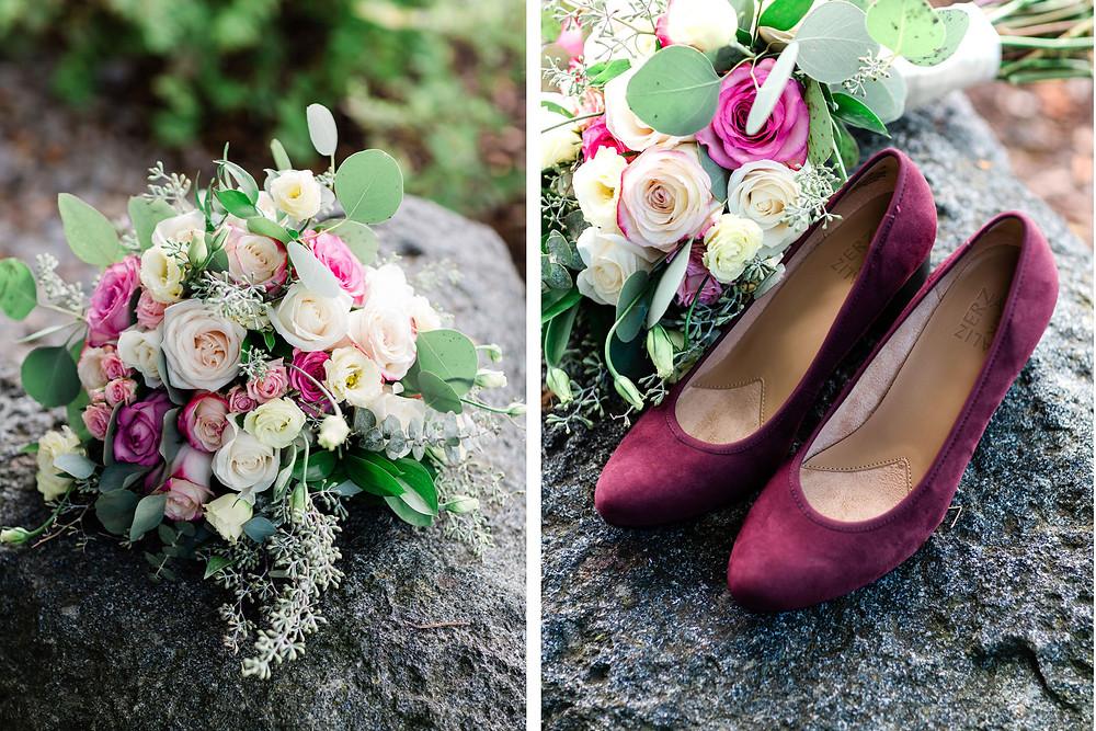 wedding details bouquet burgundy shoes