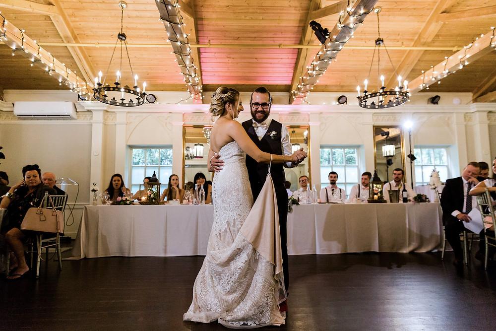 doctors house wedding garden room first dance bride and groom