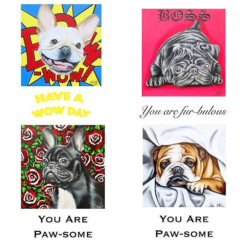 Pop Art Pups / selection of 4