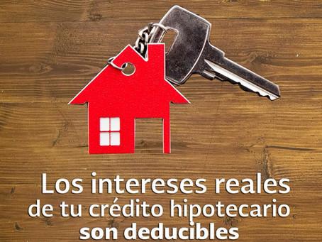Deducción de intereses, beneficio del crédito hipotecario.