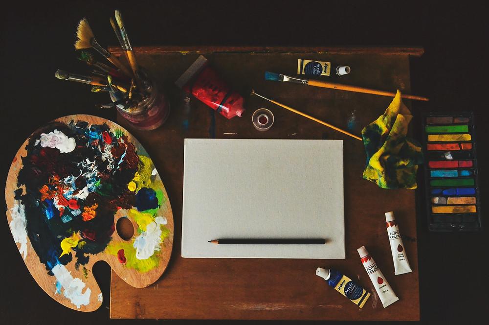 créativité, palette, pinceaux, pastels, beaux-arts