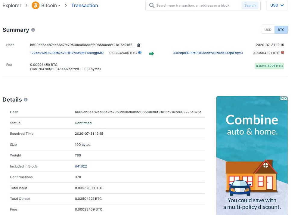 Block explorer, transação transaction