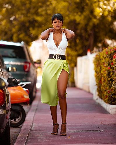 Mimi Satin Lime Skirt