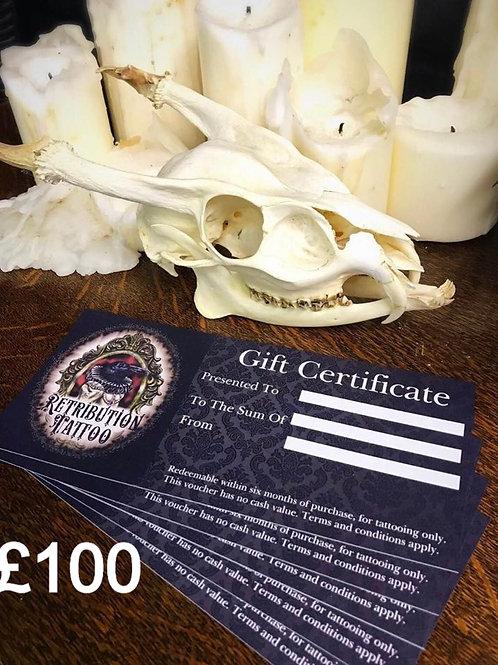 Retribution Tattoo £100 Gift Certificate