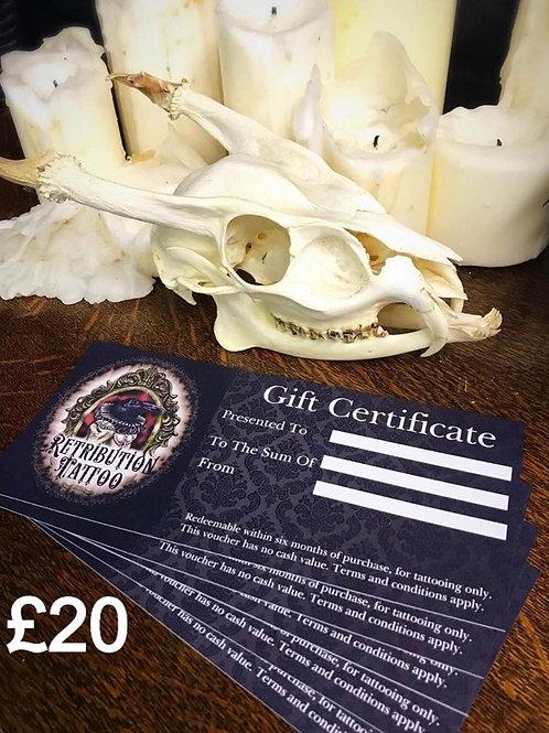 Retribution Tattoo £20 gift Certificate