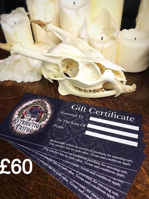 Retribution Tattoo £60 Gift Certificate