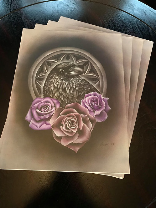 Raven and roses print by Jenn