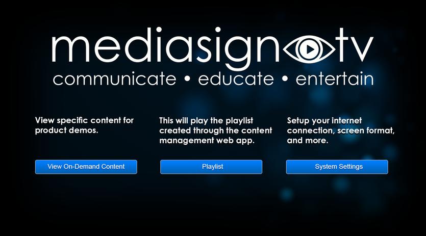 MediaSignTV Main Menu.png